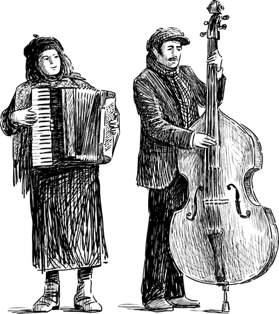 The vector drawing of the duet of the street musicians.