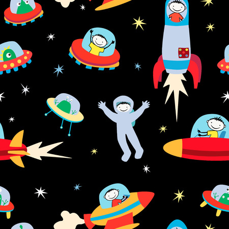 Vector image of a meeting of the aliens and the astronauts.