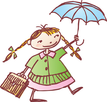 Vector drawing of the small schoolgirl with an umbrella, drawn in style of a sketch. Illusztráció