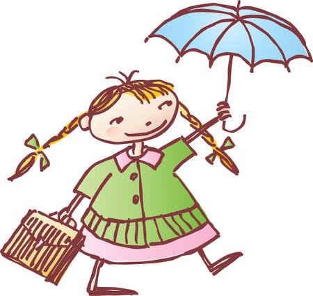 žák: Vektorové kreslení malé školky s deštníkem, kreslený ve stylu náčrtu.