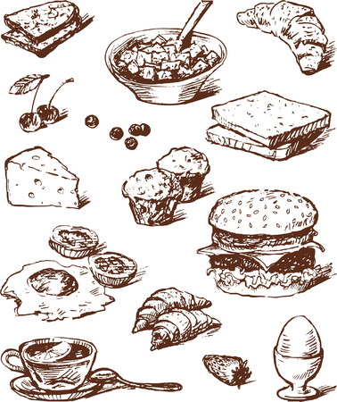 Vector drawings of various foods for breakfast in the style of the sketch.  Çizim