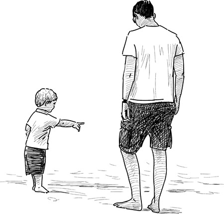 Vector image of a father with her kid on the beach.
