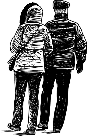 The vector drawing of the casual townspeople on a walk. Illustration