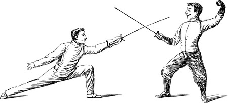 Vector image of the vintage athets fighting on the rapiers.