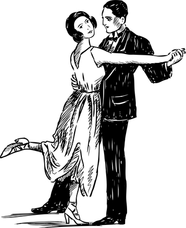 Vector image of the vintage dancing people.