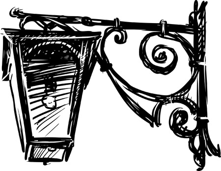 The vector sketch of an old streetlight.