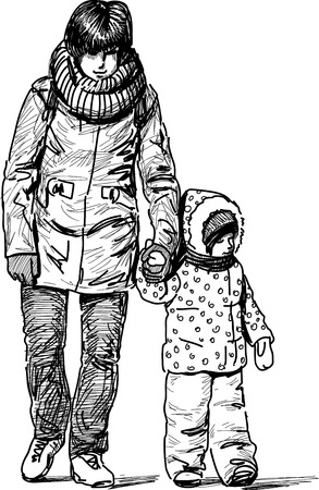 Vector sketch of an young mother with her kid on a walk.