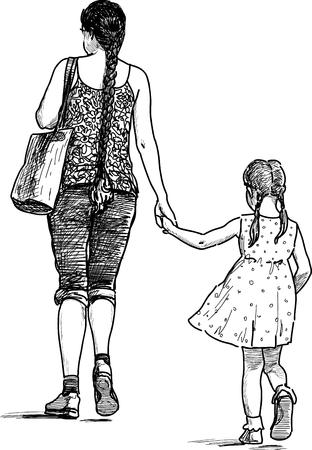 벡터 드로잉에 그녀의 딸과 함께 젊은 어머니의 도보. 일러스트