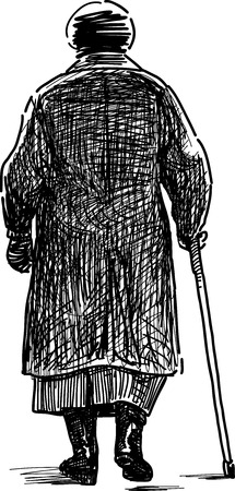frail: The sketch of an old woman on a walk.