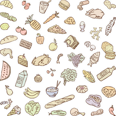 foodstuff: Vector drawings of various foodstuff.