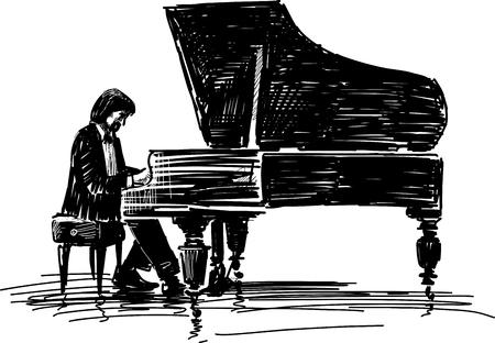 Esboço vetorial de um pianista para um piano.