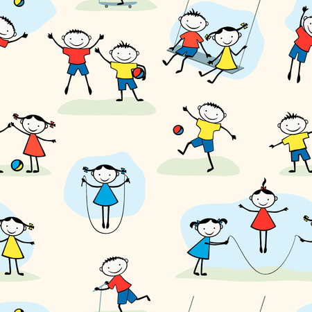Vector  pattern  of the cheerful playing children.