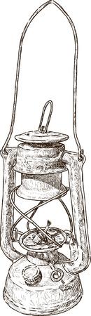 벡터 쓸모없는 등유 램프의 드로잉입니다.