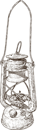 oil lamp: Vector drawing of an obsolete kerosine lamp.