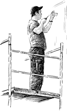 The vector image of a builder at work. Иллюстрация