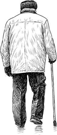 backview: Vector sketch of an old man on a stroll. Illustration