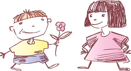 Vector drawing of the boy and the girl, drawn in style of a sketch a pencil. Illustration