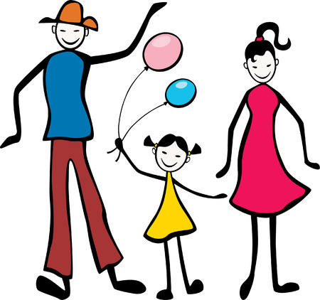 The vector drawing of a cheerfully together walking family