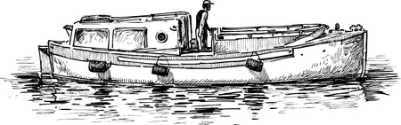 Vector drawing of a pleasure motorboat.