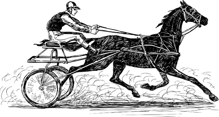 running: Vector image of a vintage horse race. Illustration