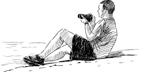 The sketch of a man takes pictures on the seashore. Illustration