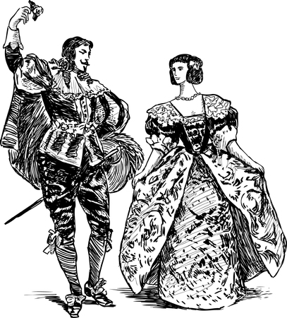 Vector image of the medieval dancing couple. Banco de Imagens - 80477450