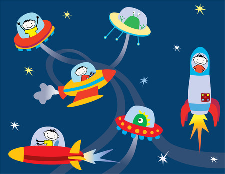 Vector drawing of space flying machines with astronauts and aliens. Illustration