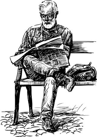 De vectortekening van een oude man leest een krant op de straatbank. Stock Illustratie