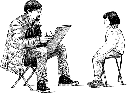 The vector image of an artist draws a portrait of a little girl.