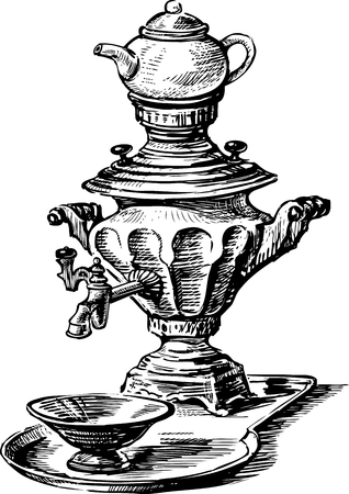 Vector image of an old russian samovar.