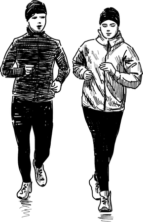 backview: The sketches of the jogging people.