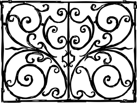 The vector image of the old decorate wondow fence.