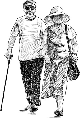 striding: Vector drawing of the old spouses on a stroll.