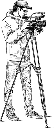 videographer: The drawing of an young photographer at work. Illustration