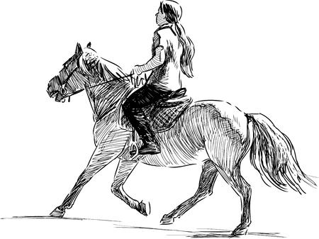 The sketch of a girl horseback riding. 일러스트