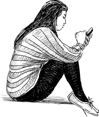 The drawing of a girl with a mobile phone.