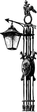 The sketch of a vintge lantern.