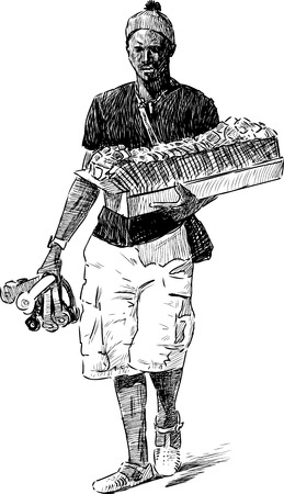 traders: Drawing of a souvenirs seller.