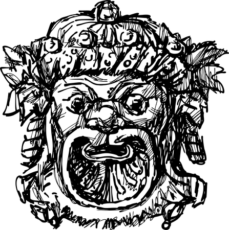 theatre masks: The vector image of an antique theatrical greec mask.
