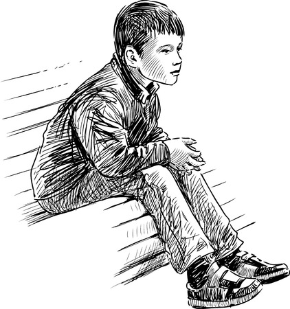 The sketch of a little boy sitting on the park bench.