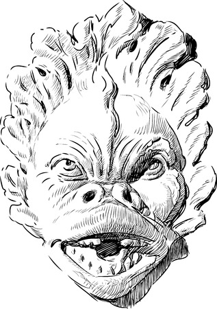 THe image of an architectural element in the shape of a monster mask.