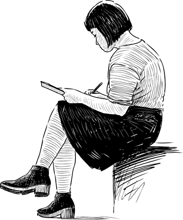 Student Life: Vector drawing of a girl making sketches.