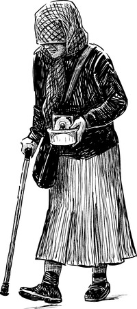 infirmity: Vector drawing of a poor old woman.