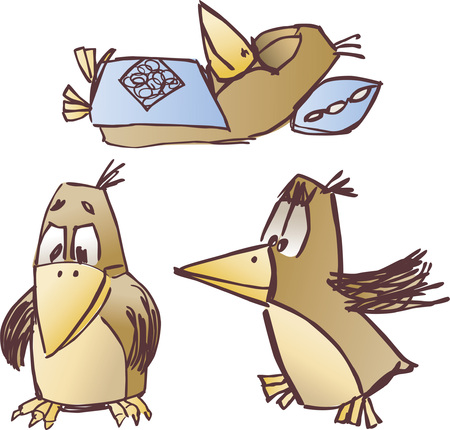 The vector image of the ridiculous bird drawn in style of a pencil sketch.