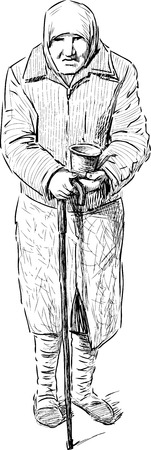De vector tekening van een bedelaar oude vrouw.
