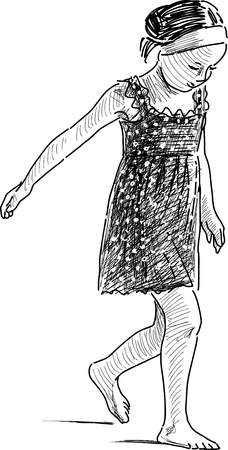 tread: The sketch of a barefoot little girl.
