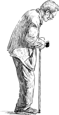 hunched: Vector sketch of an old man with a stick.