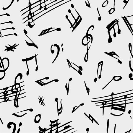 composing: The vector drawing of a musical signs in style of a sketch. Illustration