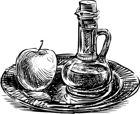 A Vector image of an apple and oil bottle on the tray.