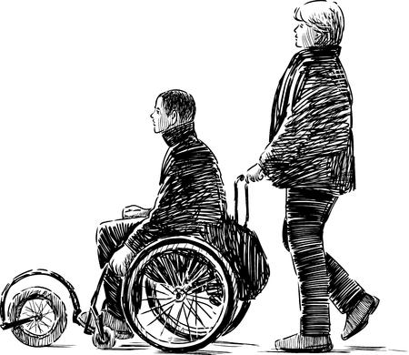 Een vectorschets van een gehandicapte op een wandeling.